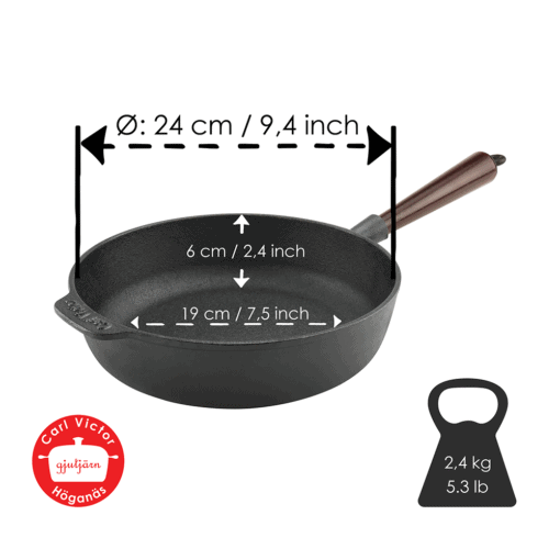 Pre-Seasoned Cast Iron Deep Pan 25 cm With Wooden Handle