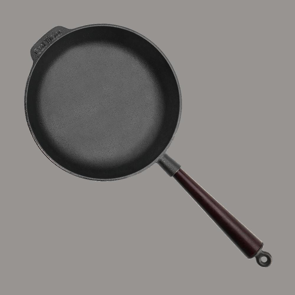 Pre-Seasoned Cast Iron Deep Pan 25 cm With Wooden Handle
