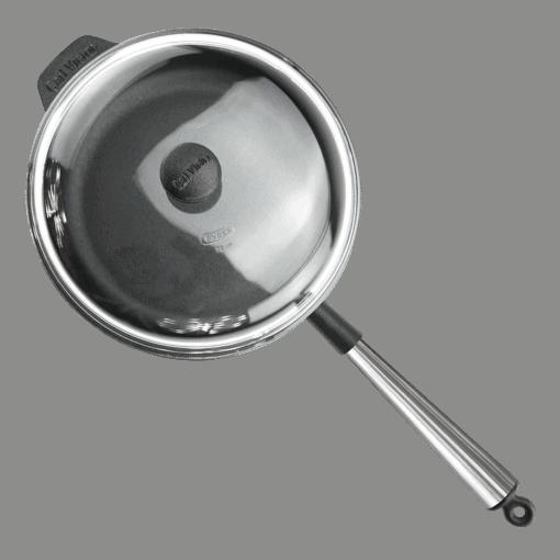 Traktörpanna Gjutjärn 28 cm Stålhandtag Glaslock