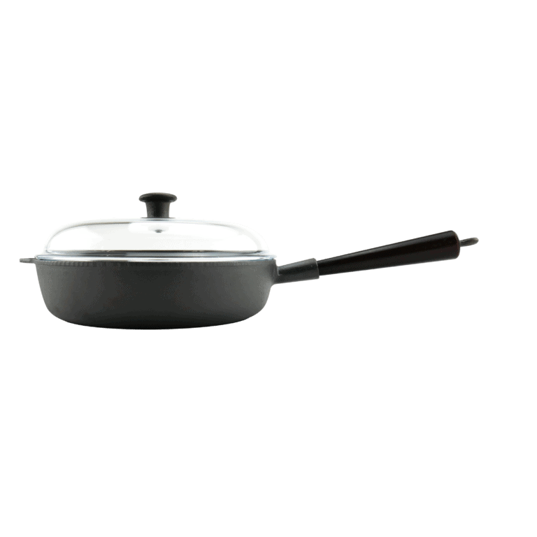 Traktörpanna Gjutjärn 28 cm Trähandtag Glaslock