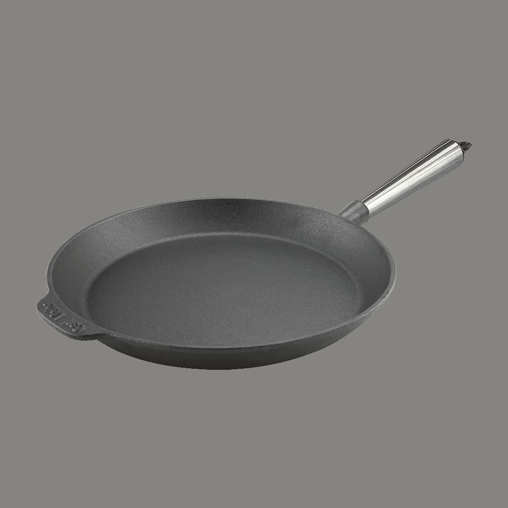 Stegepande Støbejern 28 cm med Stalskaft