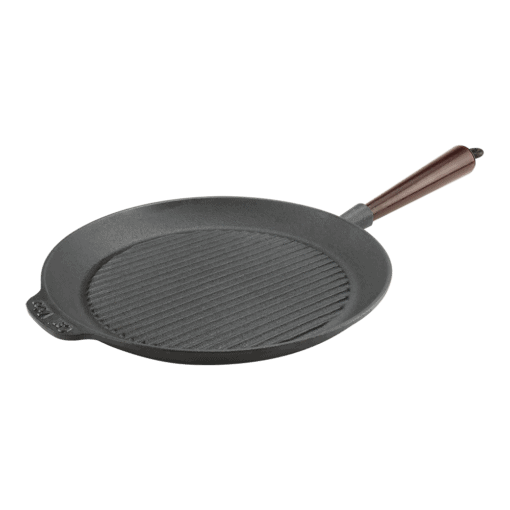 Grillpanna 28 cm Gjutjärn Trähandtag