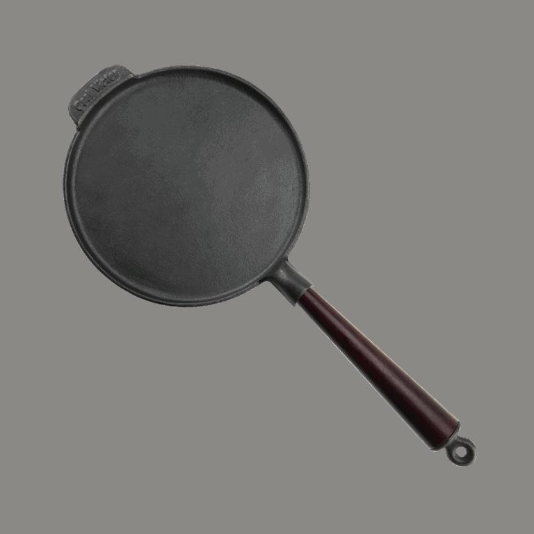 Pandekagepande Støbejern 23 cm med Træskaft