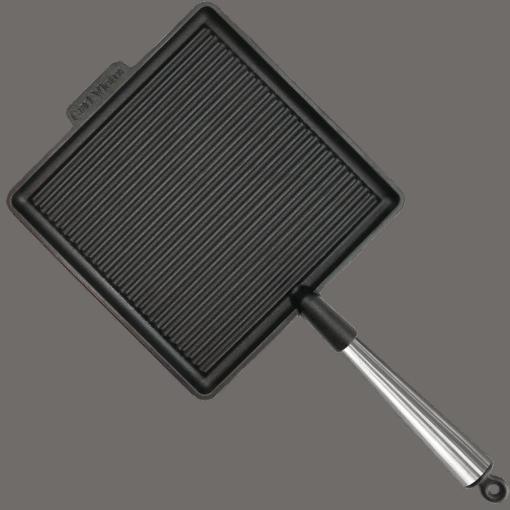 Stor Fyrkantig Grillpanna Gjutjärn 28cm Stålhandtag