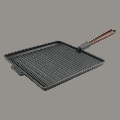 Neliö Grillipannu Valurauta 28cm Puukahva