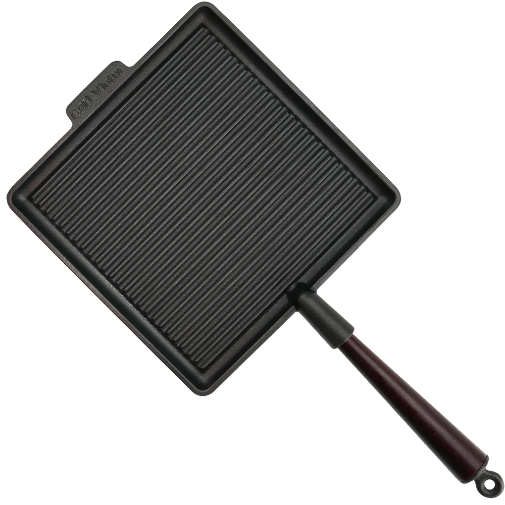 Stor Fyrkantig Grillpanna Gjutjärn 28cm Trähandtag