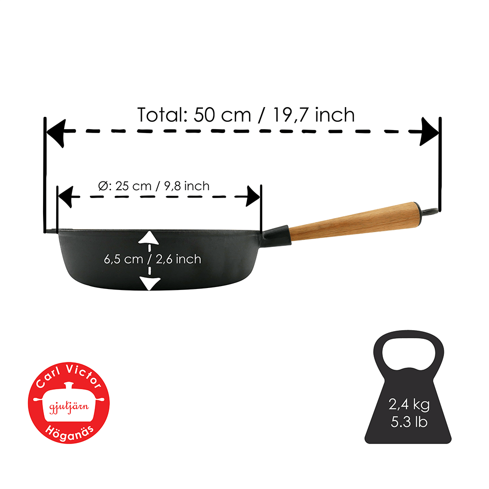 25 cm Pre-Seasoned Cast Iron Deep Pan With Wooden Handle and Cast Iron Lid