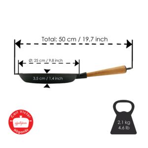 Stegepande Støbejern 24 cm med Træskaft