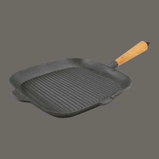 Grillipannu Neliö Valurauta 28cm Puukahva