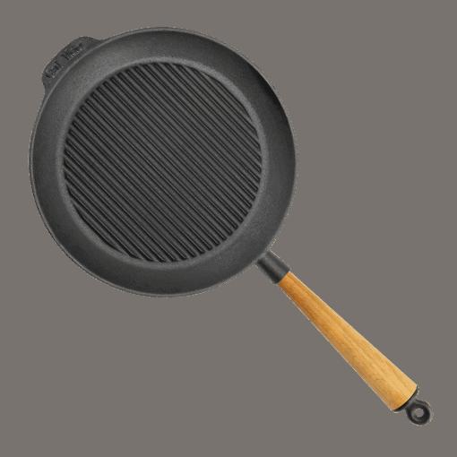 Grillpande Støbejern 28 cm med Træskaft